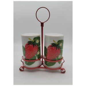 Vintage 1960's Strawberry Salt and Pepper with Caddy